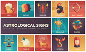 Astrological signs - set of flat design infographics elements