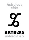 Astrology Alphabet: ASTRÆA, asteroid #5. Hieroglyphics character sign (symbol: a pair of balances).