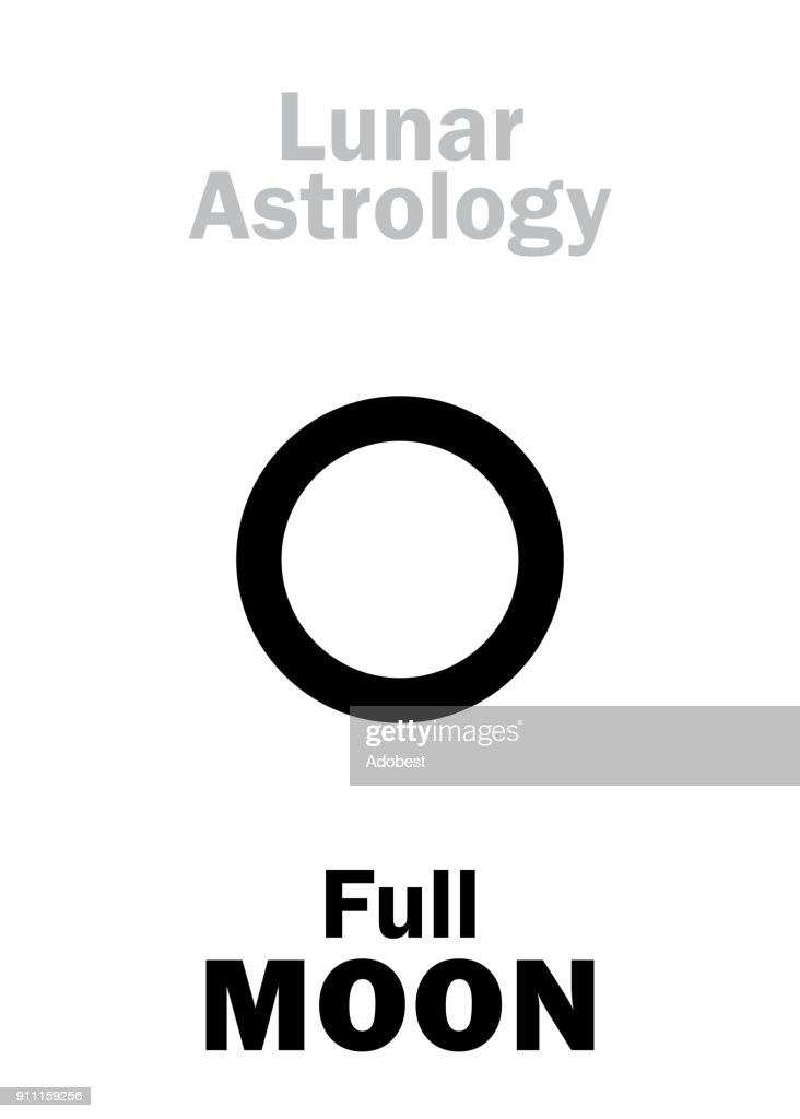 Astrology Alphabet: Full MOON (Lunar event). Hieroglyphics character sign (single symbol).