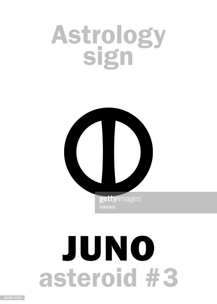 Astrology Alphabet: JUNO, asteroid #3. Hieroglyphics character sign (single symbol).