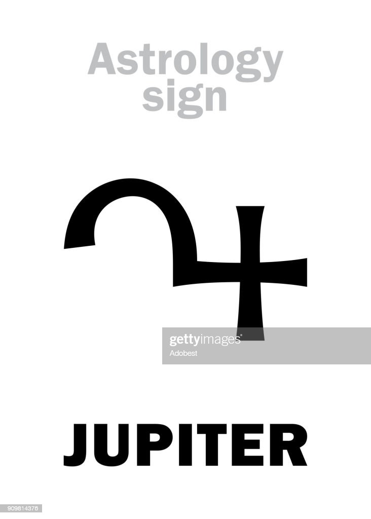 Astrology Alphabet: JUPITER, classic major social planet. Hieroglyphics character sign (single symbol).