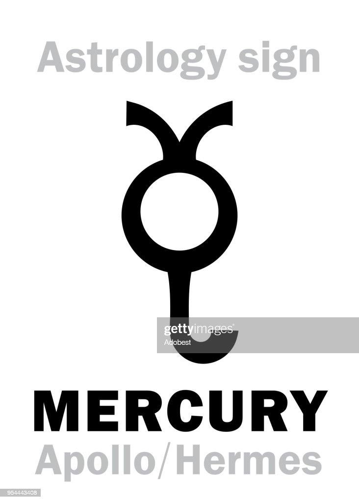 Astrology Alphabet: MERCURY (Stilbon/Apollo-Hermes), the planetary star (planet-homodrome). Hieroglyphics character sign (ancient greek symbol).