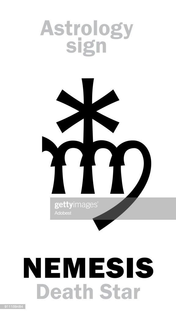 Astrology Alphabet: NEMESIS (Death Star), hypothetic super-distance sinister star-satellite of Sun. Hieroglyphics character sign (single symbol).