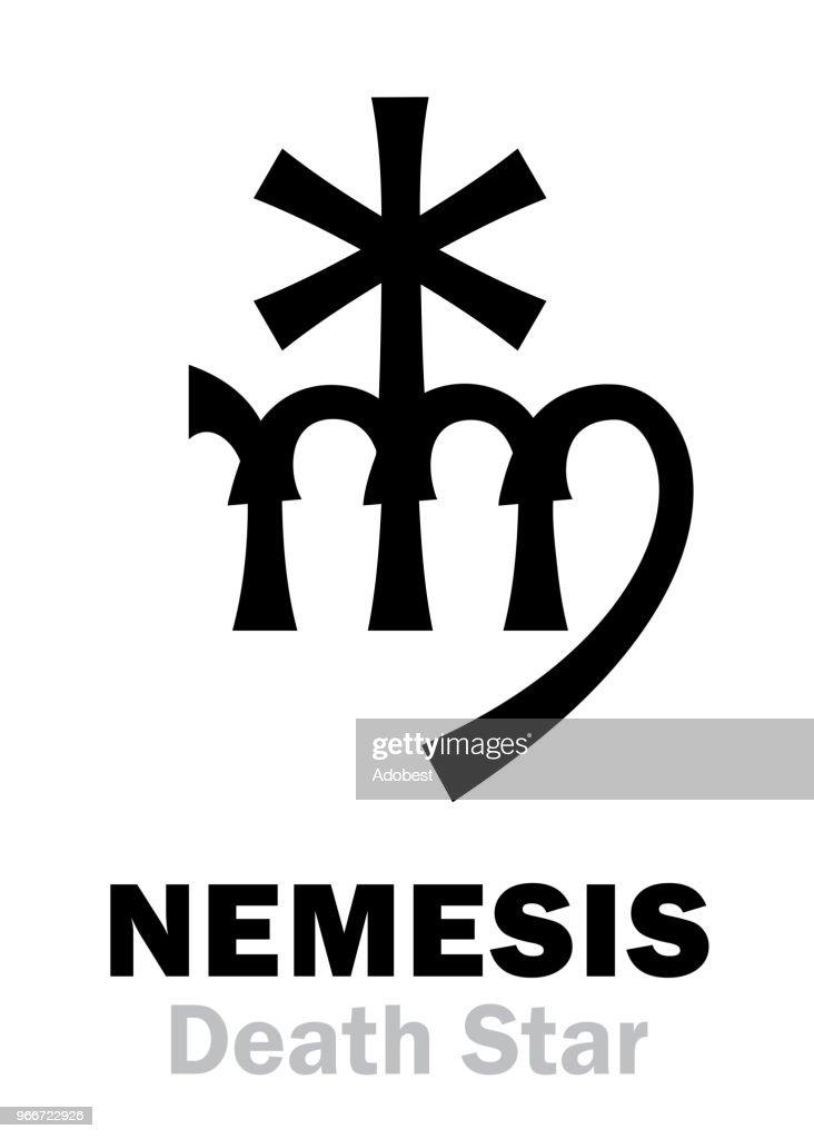 Astrology Alphabet: NEMESIS (Death Star), hypothetic super-distance sinister star-satellite of the Sun. Hieroglyphics character sign (single symbol).