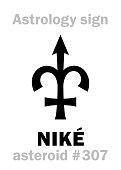 Astrology Alphabet: NIKÉ, asteroid #307. Hieroglyphics character sign (single symbol).