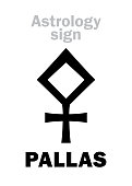 Astrology Alphabet: PALLAS ATHENA, classic asteroid. Hieroglyphics character sign (single symbol).