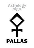 Astrology Alphabet: PALLAS ATHENA, classic asteroid. Hieroglyphics character sign (single symbol).