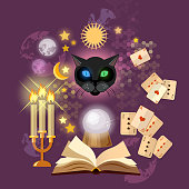 Astrology and alchemy. Fortune telling vector. Open magic book. Prediction of the future, playing cards of Tarot, mystical cat