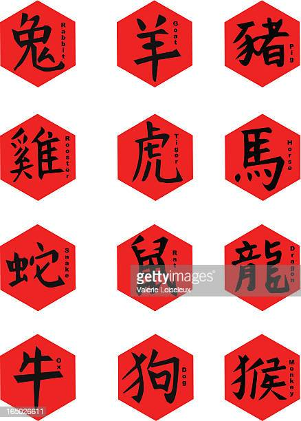 astrology chinese signs - chinese script stock illustrations