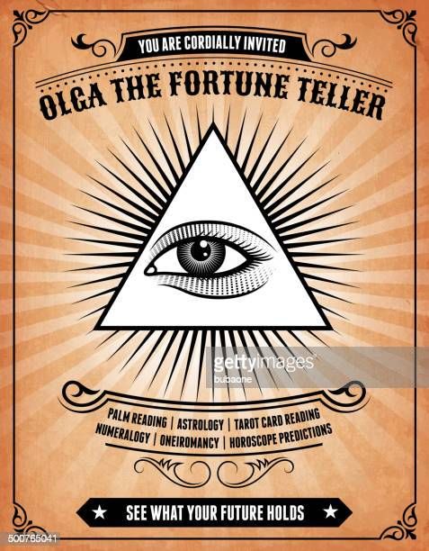 astrology fortune teller on royalty free vector background poster - fate stock illustrations