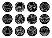 Astrology horoscope zodiac star signs icon set