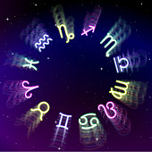 Astrology zodiac signs wheel with twelve colorful symbols in space. Full astrologic year