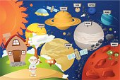 Astronaut and planet system