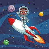 Astronaut boy flying on spaceship