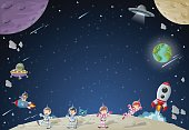 Astronaut cartoon characters on the moon