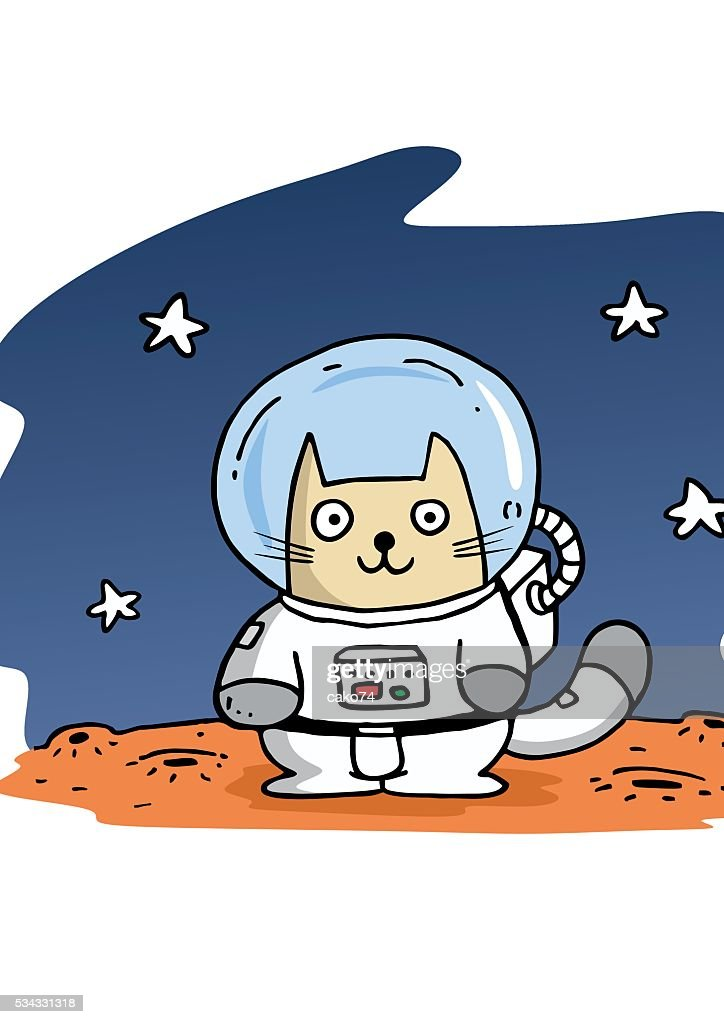 Astronaut-Katze : Stock-Illustration