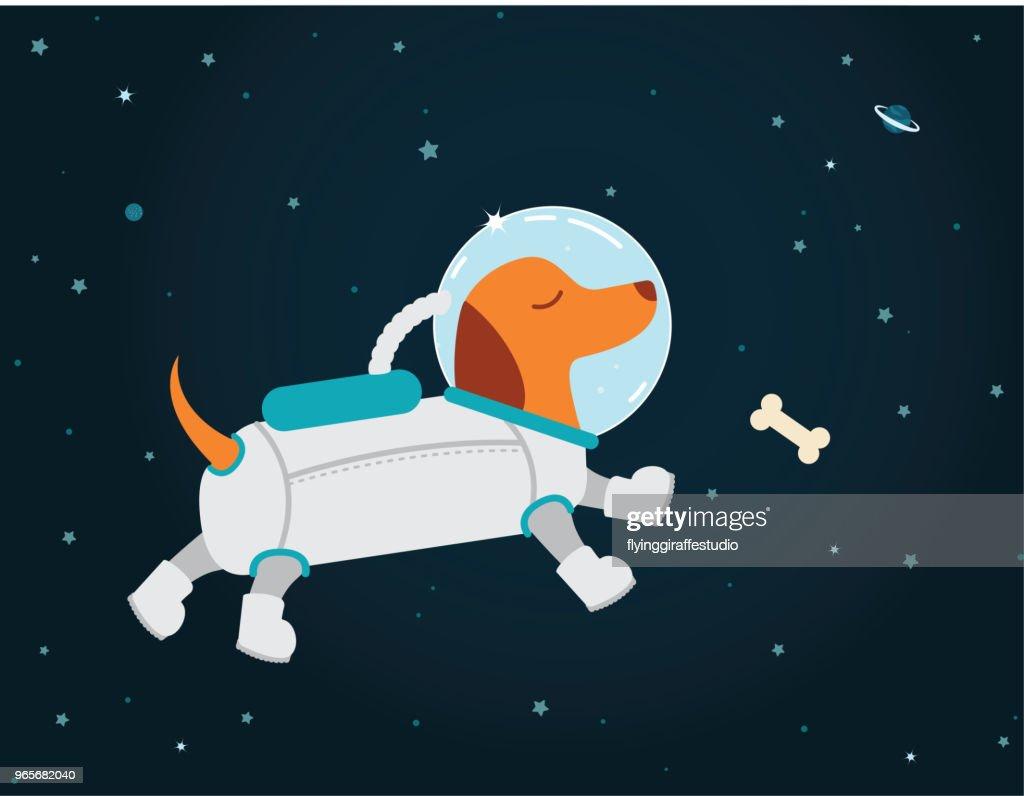 Astronaut Dachshund : Vector Art