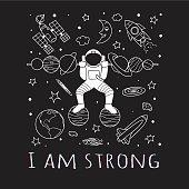 Astronaut do weight lifting