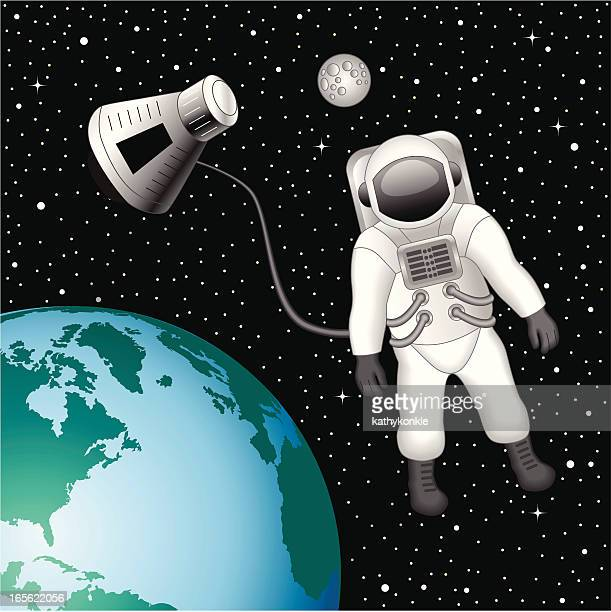 Astronaut floating above the Earth