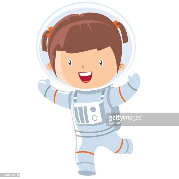 ilustrações de stock, clip art, desenhos animados e ícones de astronaut girl - astronauta