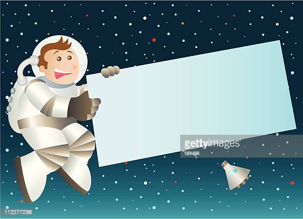 Astronaut Holding Blank Sign