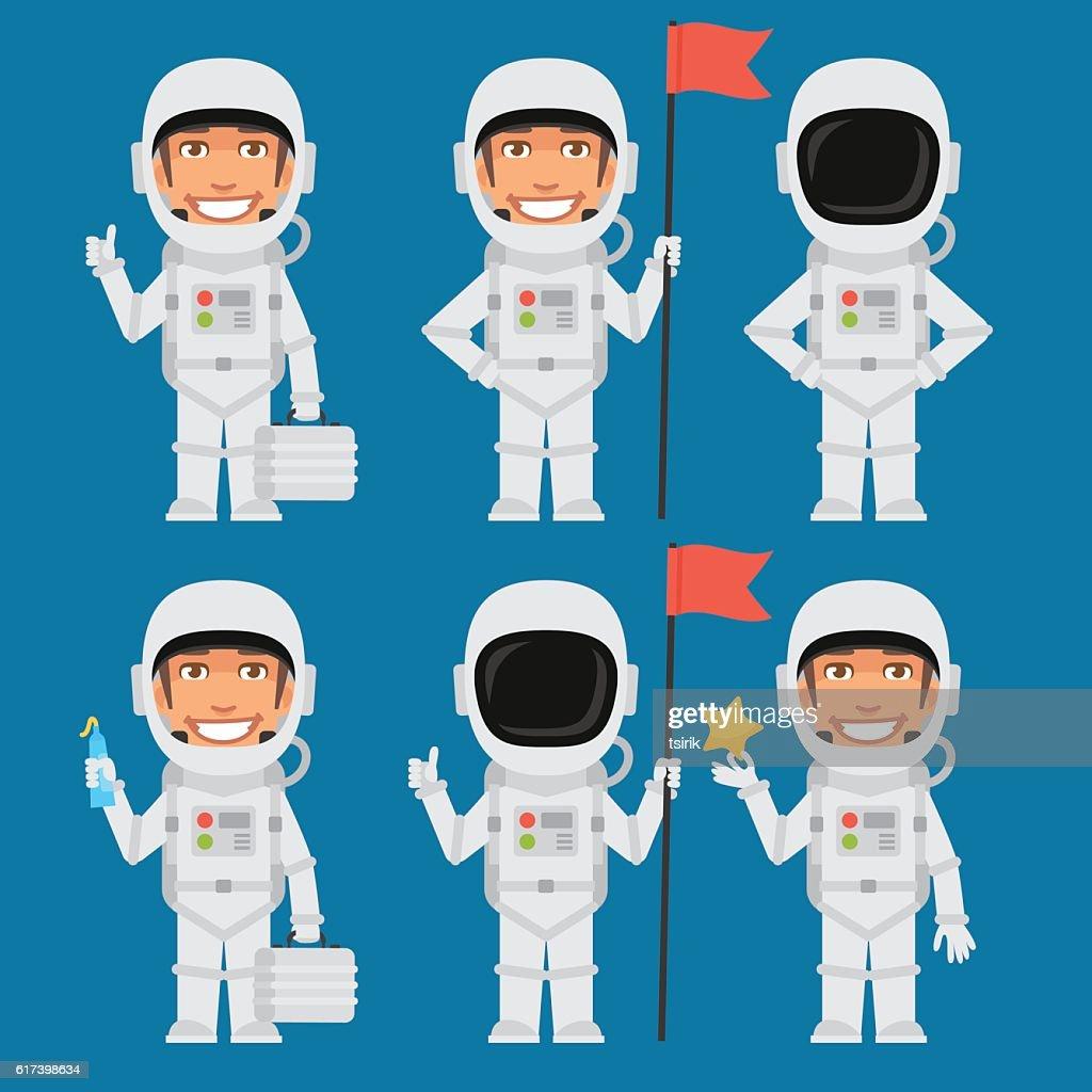 Astronaut Holding Flag Suitcase Star