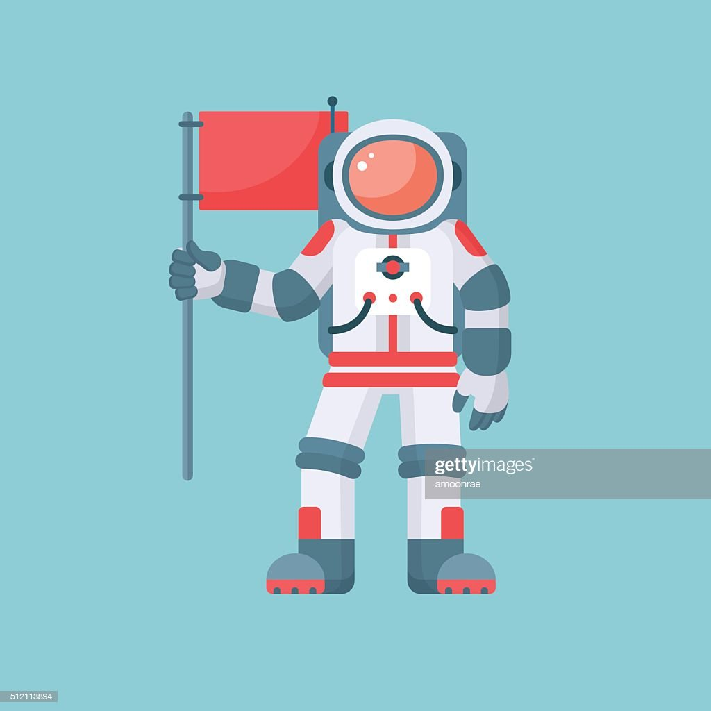 Astronaut holding red flag vector illustration isolated on blue background
