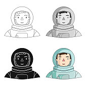 Astronaut icon in cartoon style isolated on white background. People of different profession symbol stock vector illustration web