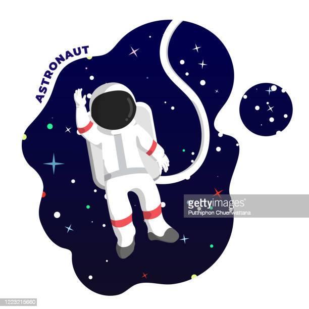 ilustrações de stock, clip art, desenhos animados e ícones de astronaut in outer space illustration. vector stock illustration. - optical art