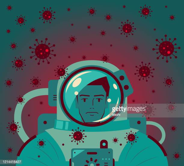 astronaut (scientist, biochemist, man) in space suit is surrounded by new coronavirus (bacterium, virus) - viral shedding stock illustrations