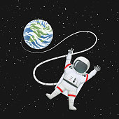 Astronaut in space with limbs akimbo, making peace or v sign connected to the Earth.