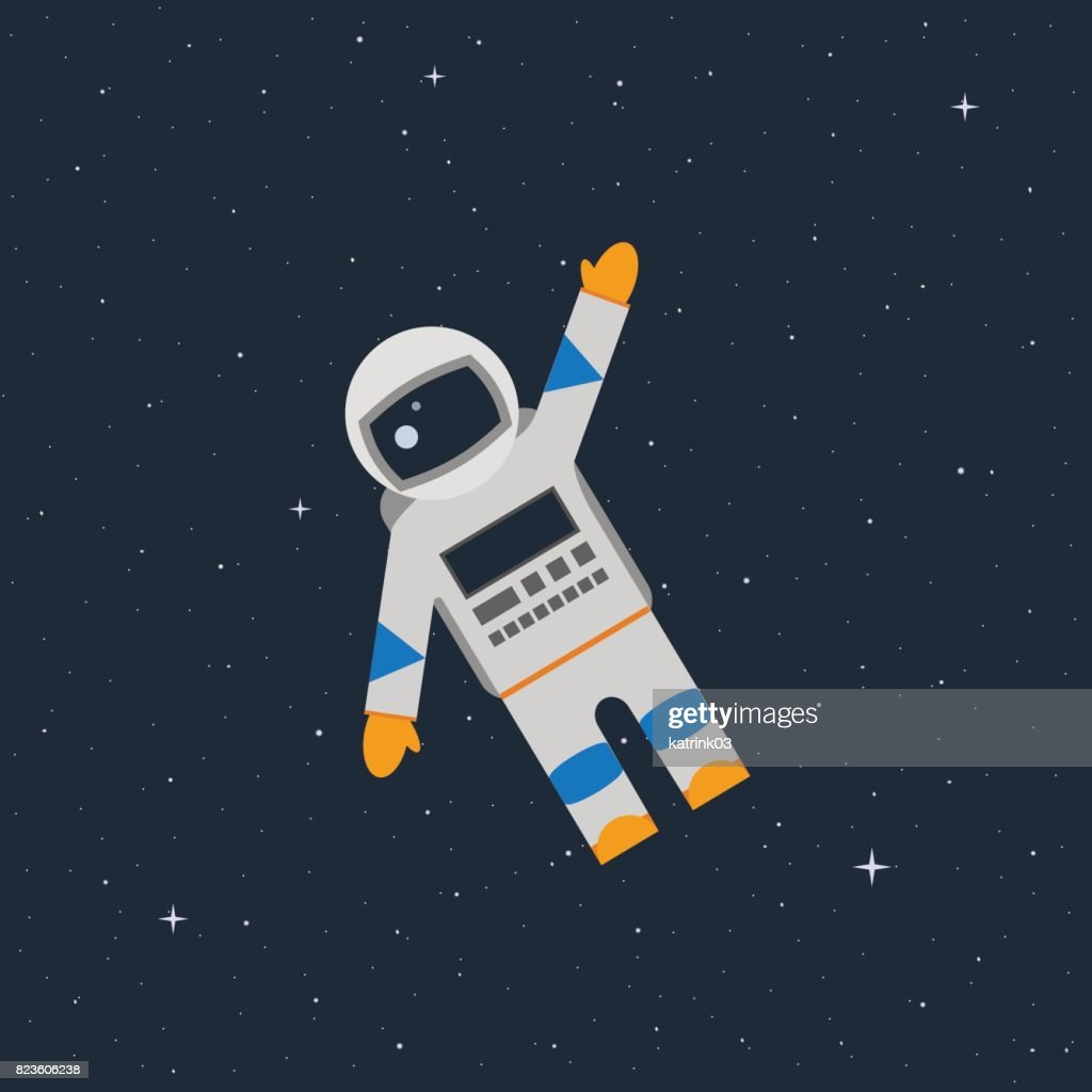 astronaut in the open space waves his hand