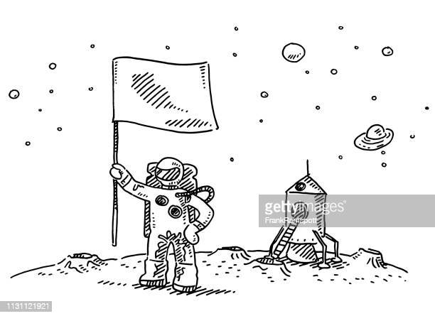 astronaut landing on moon flag drawing - astronaut stock illustrations, clip art, cartoons, & icons