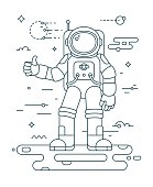 Astronaut landing planet thin outline vector illustration. Space exploration concept