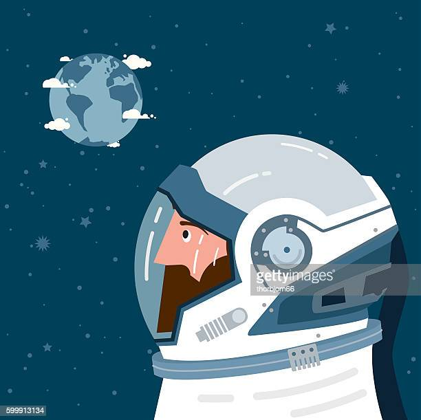 Astronaut looking at Earth