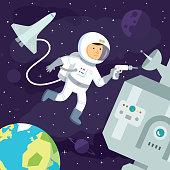 Astronaut makes repairs in Space