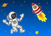 astronaut meeting an alien in a space ship