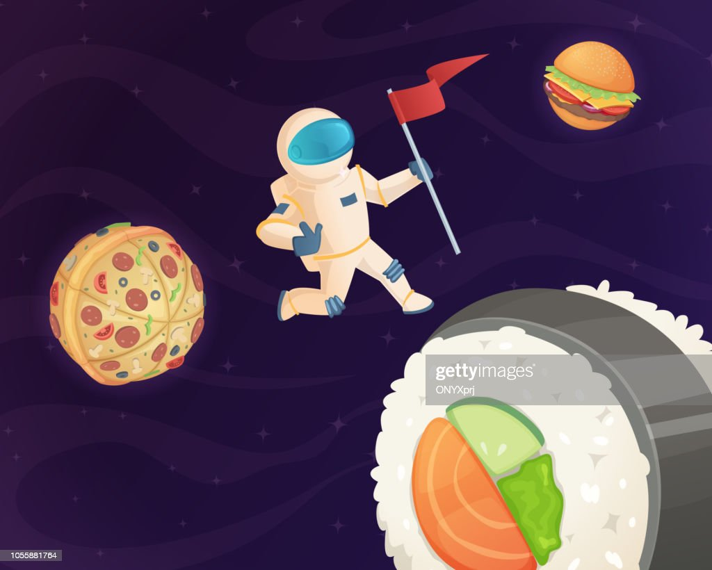 Astronaut on food planet. Fantasy space world with candy fast food burger pizza and various sweets stars fantastic sky vector background
