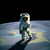 Astronaut on the moon surface. Flat geometric space illustration.
