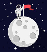 astronaut on top of the moon Flat Design