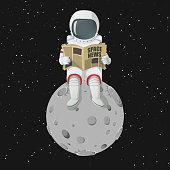 Astronaut sitting on the moon reading newspaper.