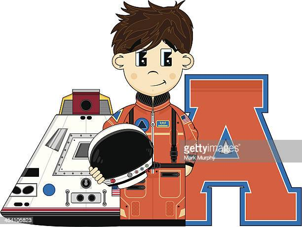 Astronaut & Space Capsule Learning Letter A