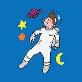 Astronaut space walking cartoon