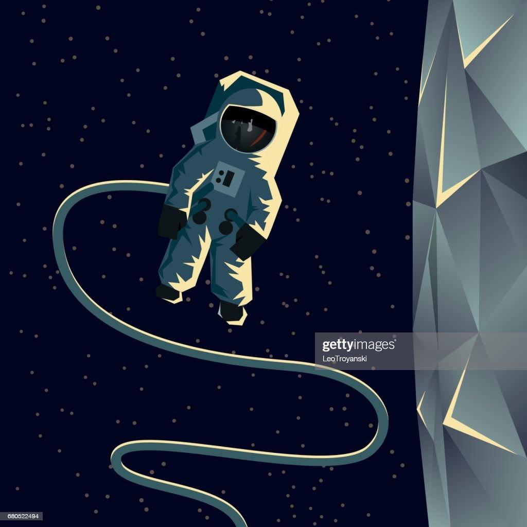Astronaut spacewalk near the moon. Flat geometric space illustration.