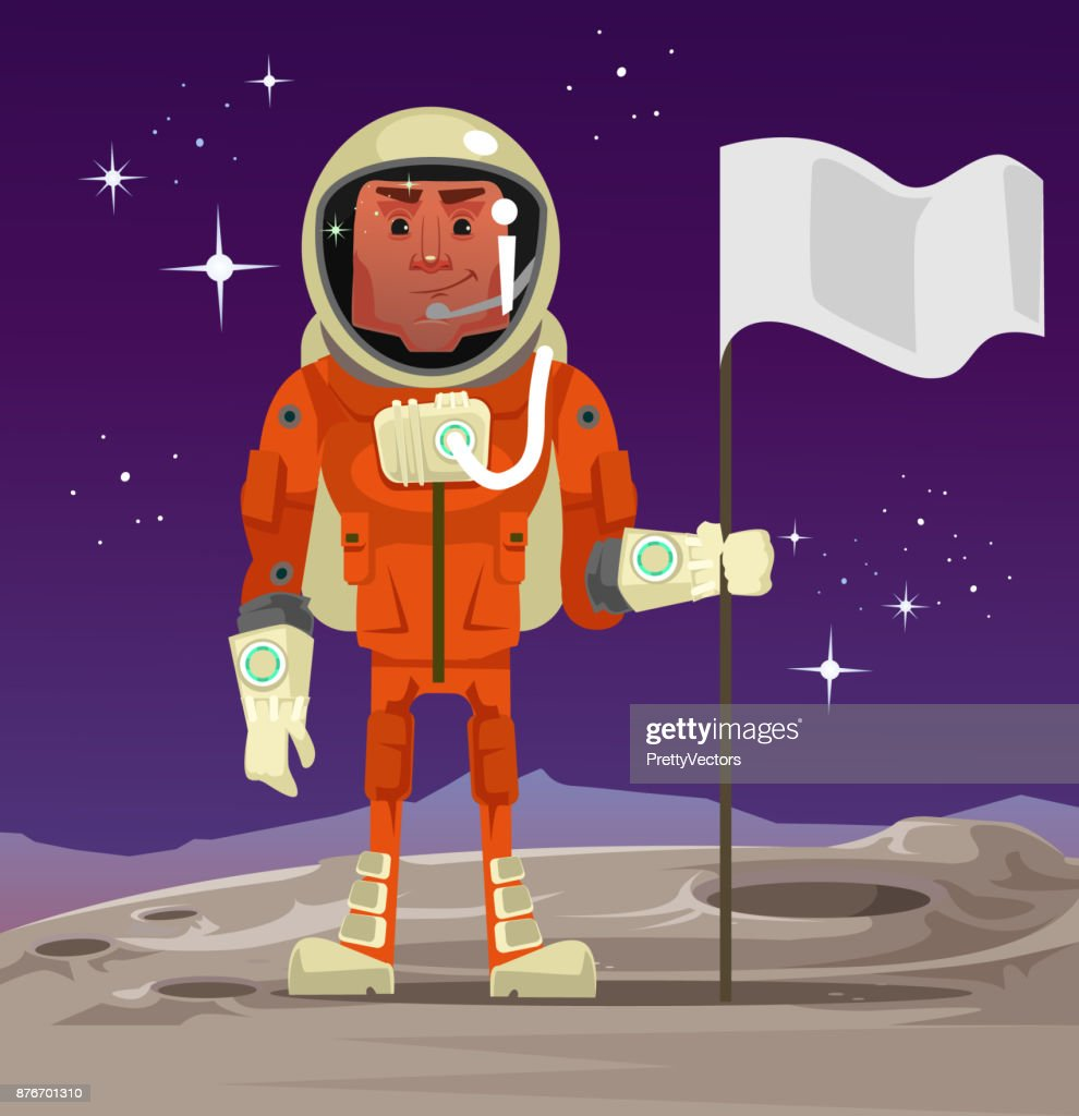 Astronaut standing on planet and holding flag