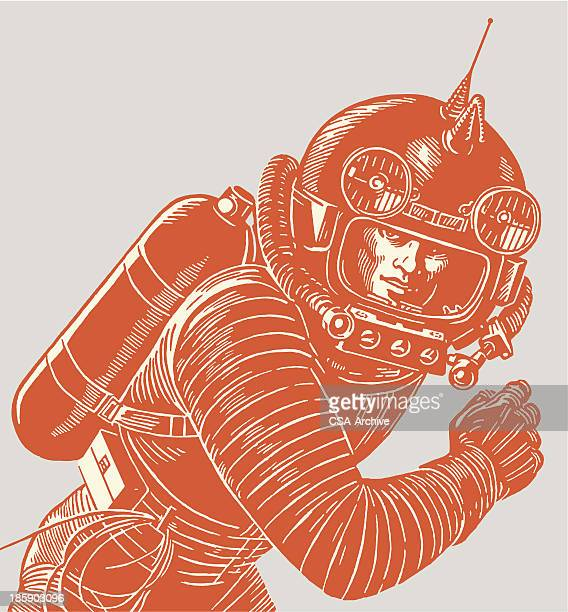 astronaut wearing a spacesuit - retro style stock illustrations