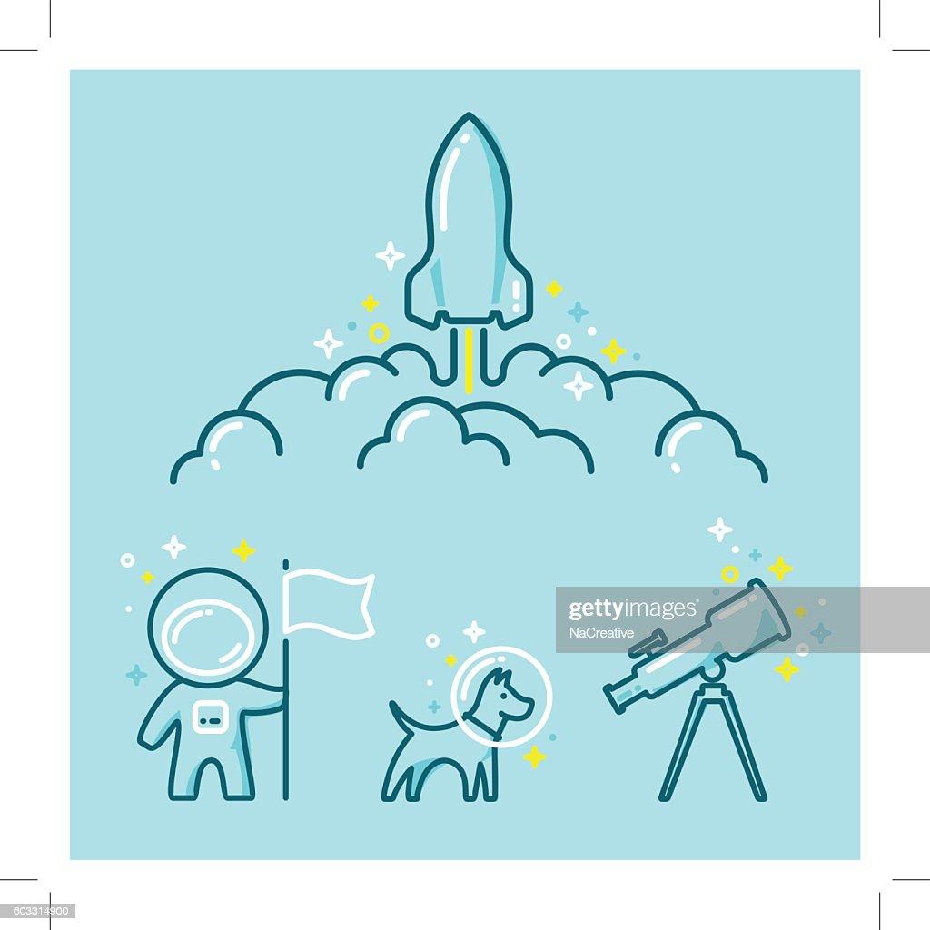 Astronautics Space Illustration Set : stock illustration