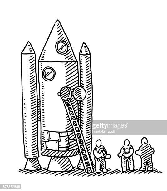 Astronauts Before Rocket Launch Drawing