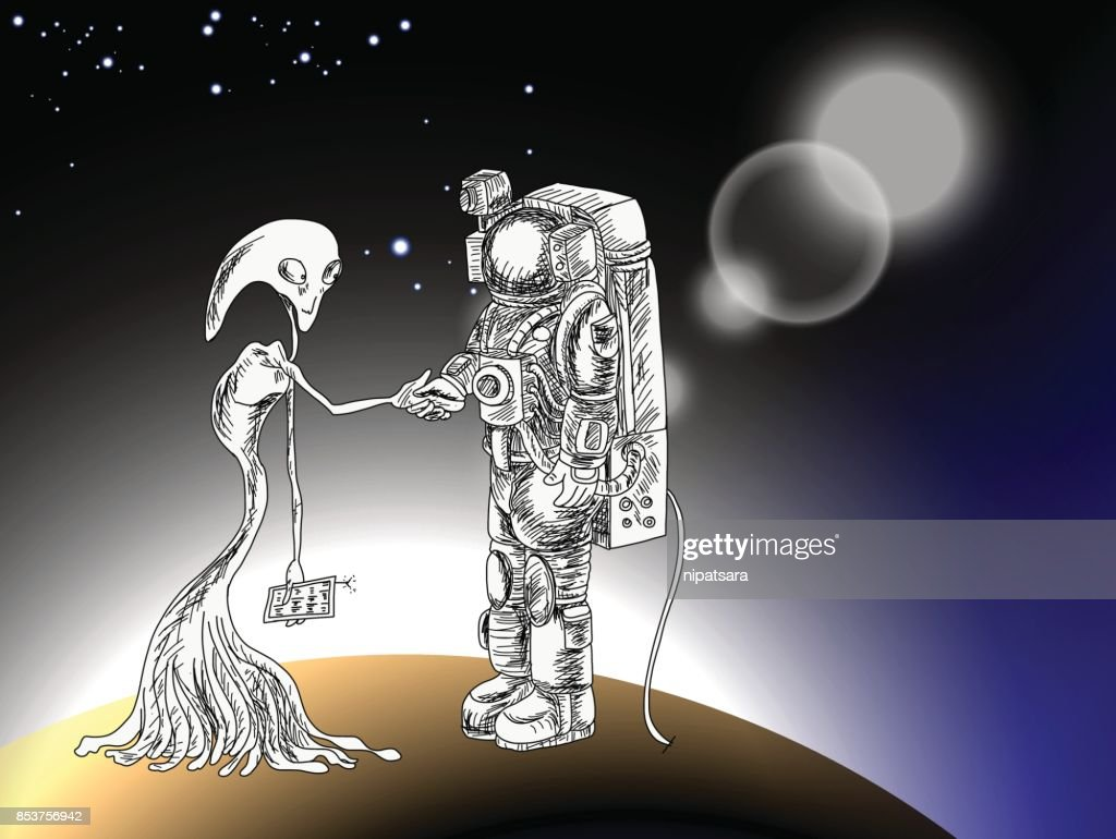 Astronauts characters set Hand drawn style. Alain hold hand with Astronaut and Business contact on The star and outer space