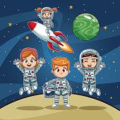 Astronauts kids on space cartoon